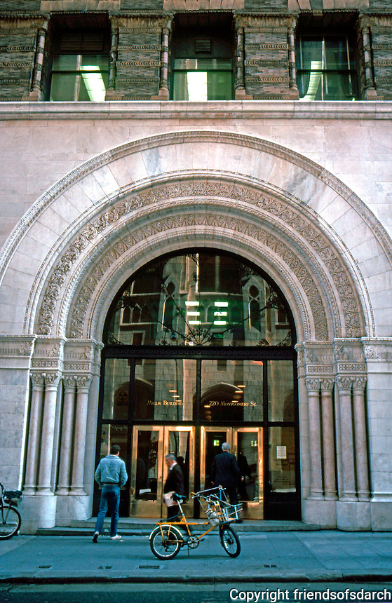 Burnham & Root: Mills Building, San Francisco, 1892. Entrance.  Photo '83.