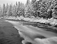 Metolius River with fresh snow. Oregon