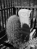 """White Hills, Arizona, ghost town, Grave: """"Robert Johnston, Born in Tyrone, Ireland, died … 189…Aged 62 years … (Gone but not) Forgotten"""" 1936 photo"""