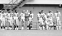 BC Lions bench, in this photo are Jim Young, Monroe Eley, Grady Cavness, Elton Brown, Brock Aynsley, Eddie Linscomb-1974. Photo copyright Scott Grant.