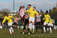 Rickie Hayles of Hornchurch tries to get in a header in the Bromley goal area - AFC Hornchurch vs Bromley - Blue Square Conference South Football at The Stadium, Upminster Bridge, Essex - 01/04/13 - MANDATORY CREDIT: Gavin Ellis/TGSPHOTO - Self billing applies where appropriate - 0845 094 6026 - contact@tgsphoto.co.uk - NO UNPAID USE.