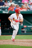 Springfield Cardinals third baseman Jacob Wilson (4) tosses his bat aside and starts down the first base line during a game against the San Antonio Missions on June 4, 2017 at Hammons Field in Springfield, Missouri.  San Antonio defeated Springfield 6-1.  (Mike Janes/Four Seam Images)