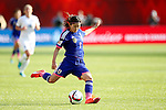 Nahomi Kawasumi (JPN), JULY 1, 2015 - Football / Soccer : Nahomi Kawasumi of Japan sends a cross into the penalty area led to the own goal during the FIFA Women's World Cup Canada 2015 Semi-final match between Japan 2-1 England at Commonwealth Stadium in Edmonton, Canada. (Photo by AFLO)