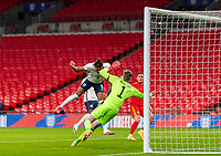 8th Occtober 2020, Wembley Stadium, London, England;  Englands Dominic Calvert-Lewin scores the first goal with a header during a friendly match between England and Wales in London