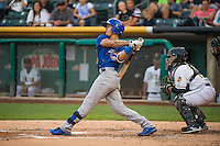 Javier Baez (9) of the Iowa Cubs at bat against the Salt Lake Bees in Pacific Coast League action at Smith's Ballpark on August 20, 2015 in Salt Lake City, Utah. The Cubs defeated the Bees 13-2. (Stephen Smith/Four Seam Images)