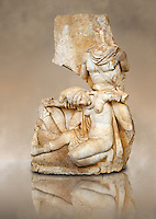 Photo of Roman relief sculpture, Aphrodisias, Turkey, Images of Roman art bas reliefs.  Nero supports a slumping naked Armenia. She wears a soft eastern hat.