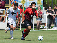 NWA Democrat-Gazette/CHARLIE KAIJO Russellville High School defender David Bonilla (8) leads the ball during the Class 5A State Soccer Tournament championship, Friday, May 18, 2019 at Razorback Field in Fayetteville. Russellville High School defeated Siloam Springs 1-0