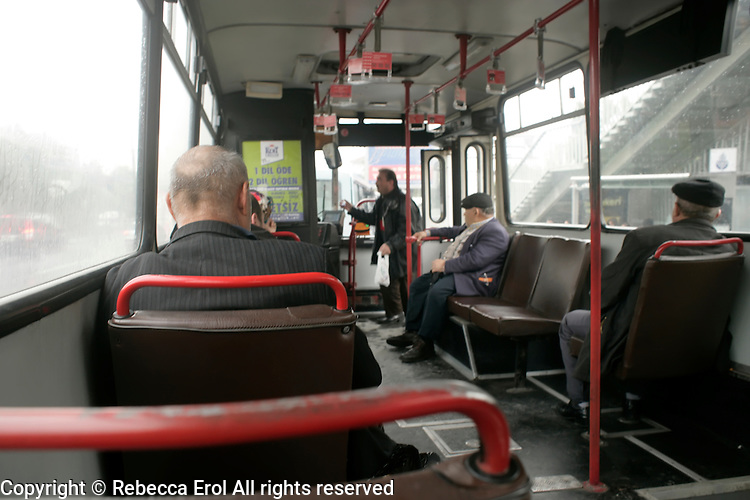 Inside an Istanbul bus, Turkey