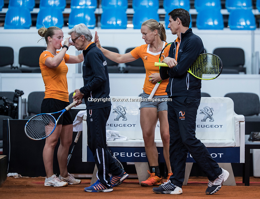 Bratislava, Slovenia, April 23, 2017,  FedCup: Slovakia-Netherlands, Practise Dutch team, lor: Richel Hogenkamp, captain Martin Bohm, Kiki Bertens and captain Paul Haarhuis.<br /> Photo: Tennisimages/Henk Koster