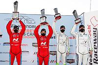 #33 Bryan Herta Autosport w/ Curb Agajanian Hyundai Veloster N TCR, TCR: Gabby Chaves, Ryan Norman, #29 Bryan Herta Autosport w/ Curb Agajanian Hyundai Veloster N TCR, TCR: Parker Chase, Spencer Brockman, podium