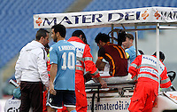 Calcio, Serie A: Roma vs Lazio. Roma, stadio Olimpico, 8 novembre 2015.<br /> Roma's Mohamed Salah is carried out of the pitch after getting injured during the Italian Serie A football match between Roma and Lazio at Rome's Olympic stadium, 8 November 2015.<br /> UPDATE IMAGES PRESS/Isabella Bonotto