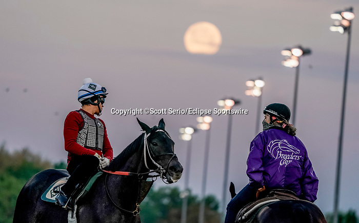 April 27, 2021: Scenes from around the track as the Super Pink Moon sets and horses prepare for the Kentucky Derby and Kentucky Oaks at Churchill Downs  Scott Serio/Eclipse Sportswire/CSM