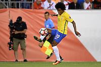 Action photo during the match Brasil vs Peru at Gillette Stadium Copa America Centenario 2016. ---Foto  de accion durante el partido Brasil vs Peru , En el Estadio Gillette Partido Correspondiante al Grupo - B -  de la Copa America Centenario USA 2016, en la foto:  Willian<br /> <br /> -- 12/06/2016/MEXSPORT/Adrian Macias.