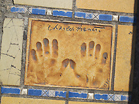 Hand print of the singer, Charles Trenet, outside the Palais des Festivals et des Congres, Cannes, France.