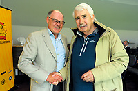 John Morrison (right) with Alisdair McBeth. Cricket Wellington membership badge presentations in the Long Room at the Basin Reserve in Wellington, New Zealand on Saturday, 14 November 2020. Photo: Dave Lintott / lintottphoto.co.nz
