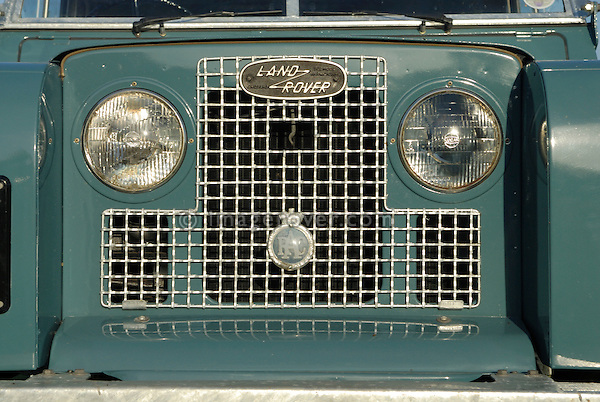 Close up of a freshly restored 1968 Land Rover Series 2a front with an age related black UK number plate. Europe, UK, England. ---No releases available.  Automotive trademarks are the property of the trademark holder, authorization may be needed for some uses.