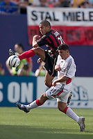 MetroStars' Craig Ziadie goes up for a ball against D.C. United's Alecko Eskandarian. D. C. United was defeated by the NY/NJ MetroStars 3 to 2 during the MetroStars home opener at Giant's Stadium, East Rutherford, NJ, on April 17, 2004.