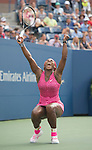 Serena Williams (USA)  celebrates 6-1, 6-3 semifinal victory over Ekaterina Makarova (RUS) at the US Open being played at USTA Billie Jean King National Tennis Center in Flushing, NY on September 5, 2014