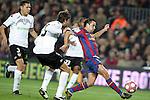 Football Season 2009-2010. Barcelona's player Xavi Hernandez (R) and Valencia's  Dealbert (L) during their spanish liga soccer match between Barcelona vs Valencia at Camp Nou  stadium in Barcelona. 14 March 2010.