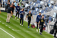 ST PAUL, MN - SEPTEMBER 06: Real Salt Lake Substitutes enter the field before a game between Real Salt Lake and Minnesota United FC at Allianz Field on September 06, 2020 in St Paul, Minnesota.