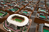 BNPS.co.uk (01202 558833)<br /> Pic: Zachary Culpin/BNPS<br /> <br /> Pictured: Wembley Stadium<br /> <br /> An incredible collection of model football stadiums handmade by a soccer fan have sold for almost £19,000 after being found in a storage unit.<br /> <br /> Model-maker John Le Maitre created miniature versions of all 92 English Football League club grounds from the 1980s, as well as the old Wembley Stadium.<br /> <br /> They featured on a Blue Peter episode that year and are a throwback to a bygone age when football grounds with their banks of terraces looked very different to today's super stadiums.
