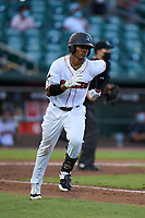 Jupiter Hammerheads Dalvy Rosario (7) runs to first base during a game against the Palm Beach Cardinals on May 11, 2021 at Roger Dean Chevrolet Stadium in Jupiter, Florida.  (Mike Janes/Four Seam Images)