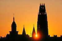 Yale University Harkness Tower sunset New Haven CT