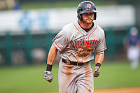 Nashville Sounds outfielder Craig Gentry (9) runs to third base during the Pacific Coast League baseball game against the Oklahoma City Dodgers on June 12, 2015 at Chickasaw Bricktown Ballpark in Oklahoma City, Oklahoma. The Dodgers defeated the Sounds 11-7. (Andrew Woolley/Four Seam Images)