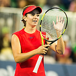 August 04, 2017: Catherine Bellis (USA) reacts after defeating Petra Kvitova (CZE) 6-2, 6-0 at the Bank of the West Classic being played at the Taube Tennis Stadium in Stanford, California. ©Mal Taam/TennisClix/CSM