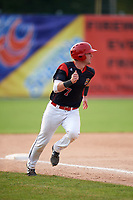 Batavia Muckdogs catcher David Gauntt (7) rounds third to score a run during the second game of a doubleheader against the Mahoning Valley Scrappers on September 4, 2017 at Dwyer Stadium in Batavia, New York.  Mahoning Valley defeated Batavia 6-2.  (Mike Janes/Four Seam Images)