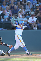Kevin Kramer (7) of the UCLA Bruins bats during a game against the Oregon State Beavers at Jackie Robinson Stadium on April 4, 2015 in Los Angeles, California. UCLA defeated Oregon State, 10-5. (Larry Goren/Four Seam Images)