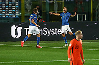 Italy's Lorenzo Pellegrini, center, celebrates with his teammates after scoring during the for UEFA Nations League football match between Italy and Netherlands at Bergamo's Atleti Azzurri d'Italia stadium, October 14, 2020.<br /> UPDATE IMAGES PRESS/Isabella Bonotto