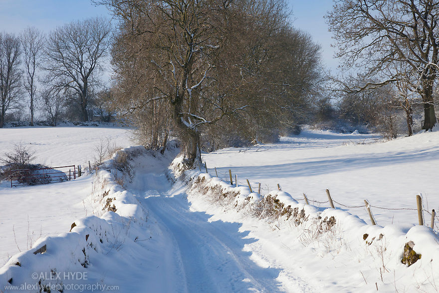 Track leading out of Bonsall village after heavy snow, Peak District National Park, Derbyshire, UK. January.