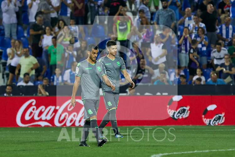 Real Sociedad's Juan Miguel Jimenez (l) and Asier Illarramendi (r) during La Liga match. August 24, 2018. (ALTERPHOTOS/A. Perez Meca)