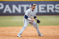 UNCG Spartans third baseman Colin Woody (22) on defense against the High Point Panthers at Willard Stadium on February 14, 2015 in High Point, North Carolina.  The Panthers defeated the Spartans 12-2.  (Brian Westerholt/Four Seam Images)