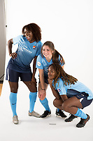 Belmar, NJ - Wednesday March 29, 2017: Mandy Freeman, McKenzie Meehan, Kayla Mills poses for photos at the Sky Blue FC team photo day.
