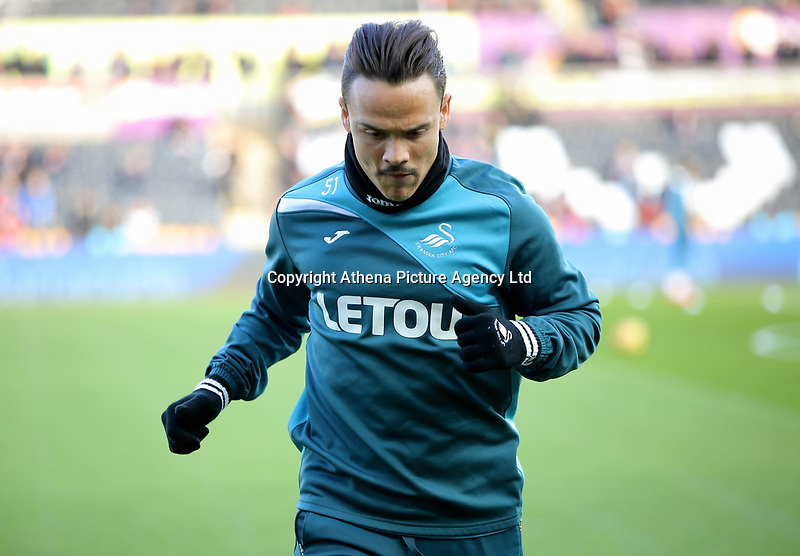 Roque Mesa of Swansea City warms up during the Premier League match between Swansea City and Brighton and Hove Albion at The Liberty Stadium, Swansea, Wales, UK. Saturday 04 November 2017