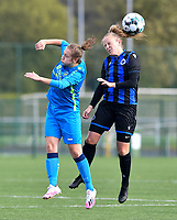 Union's Celine Cornez pictured in a duel with Brugge's Elle Decorte during a female soccer game between the women teams of Club Brugge YLA Dames and Union Saint-Ghislain Tertre-Hautrage Ladies on the 1/16 th qualifying round for the Belgian Womens Cup 2020  2021 , on saturday 26 th of September 2020  in Brugge , Belgium . PHOTO SPORTPIX.BE | SPP | DAVID CATRY