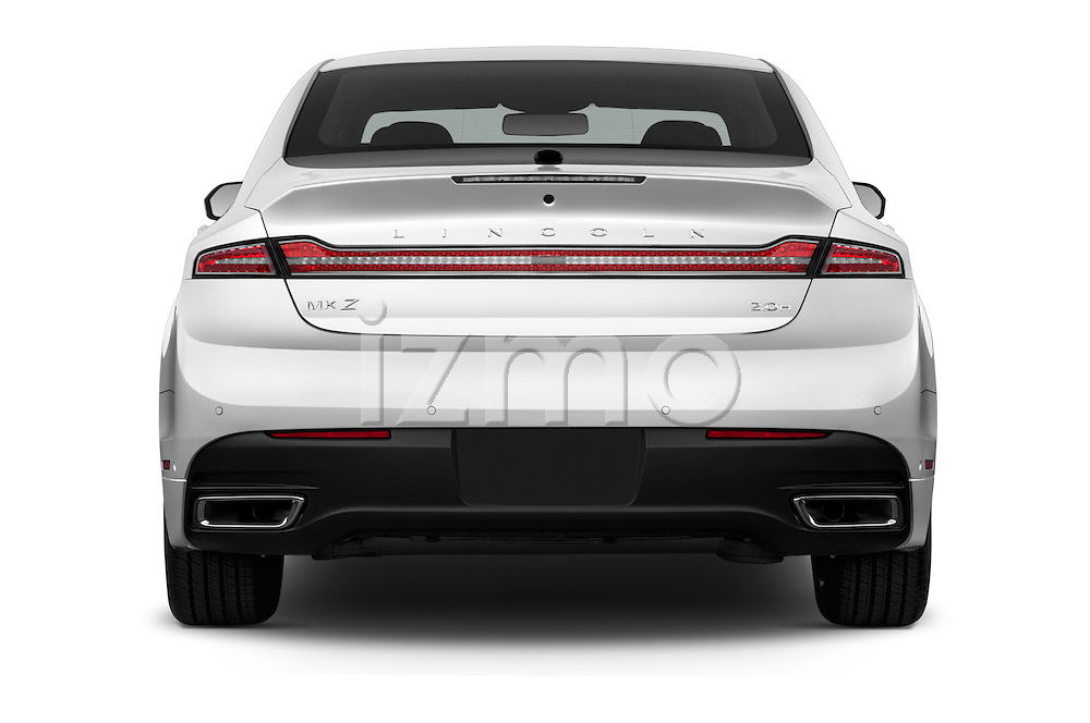 Straight rear view of 2016 Lincoln MKZ Hybrid 4 Door Sedan Rear View  stock images
