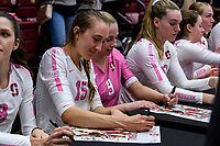 STANFORD, CA -- October 20, 2019. The Stanford Cardinal women's volleyball team defeats the Utah Utes 3-2 at Maples Pavilion.