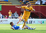 Motherwell v St Johnstone...11.08.12.Steven Hammell brings down Chris Millar for a penalty and is sent off.Picture by Graeme Hart..Copyright Perthshire Picture Agency.Tel: 01738 623350  Mobile: 07990 594431