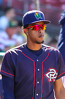 Cedar Rapids Kernels shortstop Wander Javier (1) during a Midwest League game against the Peoria Chiefs on May 26, 2019 at Perfect Game Field in Cedar Rapids, Iowa. Cedar Rapids defeated Peoria 14-1. (Brad Krause/Four Seam Images)