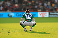 9th October 2021; Brentford Community Stadium, Brentford, London; Gallagher Premiership Rugby, London Irish versus Leicester Tigers; Tom Parton of London Irish crouching in disappointment just at full time with the full time score 21-16 to Leicester Tigers