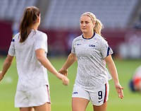 TOKYO, JAPAN - JULY 21: Lindsey Horan #9 of the USWNT walks onto the field before a game between Sweden and USWNT at Tokyo Stadium on July 21, 2021 in Tokyo, Japan.