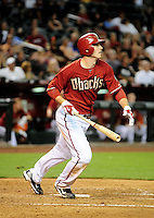 May 19, 2010; Phoenix, AZ, USA; Arizona Diamondbacks shortstop Stephen Drew hits a three run home run in the fifth inning against the San Francisco Giants at Chase Field. Mandatory Credit: Mark J. Rebilas-