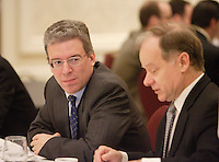 """Montreal (QC) CANADA, April 7, 2008- <br /> <br /> Tom Albanese, Chief Executive Officer of Rio Tinto, at the Canadian Club of Montreal's podium where he spoke about<br /> """"Rio Tinto: A world leader in mining and minerals, creating value and<br />     opportunity for Québec and Canada"""".<br /> <br /> On his right : Raymond Bachand , Minister of Economic Development, Innovation and Trade, Quebec.<br /> <br /> <br /> <br /> photo : (c) ¨Pierre Roussel -  images Distribution"""