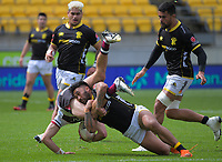 Vinnie Aso makes a tackle during the Mitre 10 Cup rugby match between Wellington Lions and North Harbour at Sky Stadium in Wellington, New Zealand on Saturday, 17 October 2020. Photo: Dave Lintott / lintottphoto.co.nz