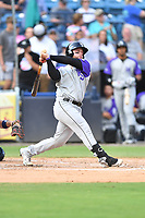 Winston-Salem Dash Evan Skoug (9) swings at a pitch during a game against the Asheville Tourists on June 23, 2021 at McCormick Field in Asheville, NC. (Tony Farlow/Four Seam Images)