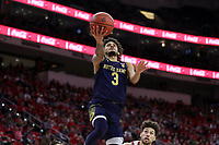 RALEIGH, NC - JANUARY 9: Prentiss Hubb #3 of the University of Notre Dame shoots a layup during a game between Notre Dame and NC State at PNC Arena on January 9, 2020 in Raleigh, North Carolina.