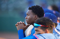 AZL Rangers Keithron Moss (24) before an Arizona League game against the AZL Athletics Gold on July 15, 2019 at Hohokam Stadium in Mesa, Arizona. The AZL Athletics Gold defeated the AZL Rangers 9-8 in 11 innings. (Zachary Lucy/Four Seam Images)